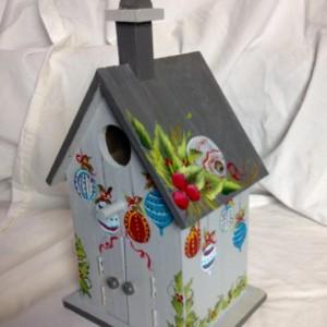 church birdhouse one stroke flowers