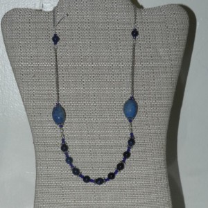 Silver Dumortierite and Glass Necklace   A12420