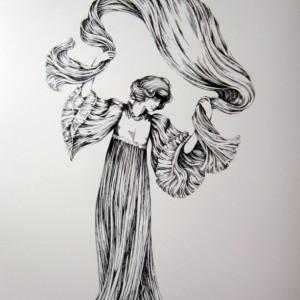 "Pen & Ink Drawing of bronze figure  ""Le Quede L'Echarpe"" by Agathon Leonard, 1900"