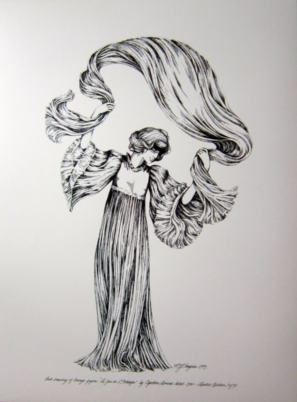 "Pen & Ink Drawing of bronze figure  ""Le Quede L'Echarpe"" by Agathon Leonard, 1900"