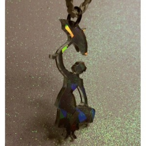 Mary Poppins necklace,laser cut pendants,holographic pendants