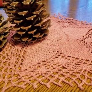 Star handmade doily. Pink star doily. Home decor. Table decorations