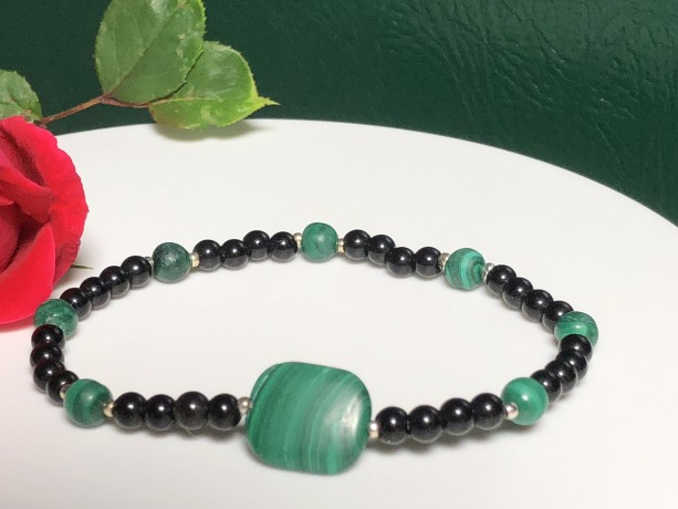 Ladies Health Protection -  Malachite Black Agate 925 Sterling Silver Bracelet |  Protection  |  Health Injury | Heart  Throat Chakra