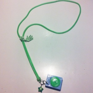 Upcycled Neon Green Zipper Record Turntable Lariat Necklace