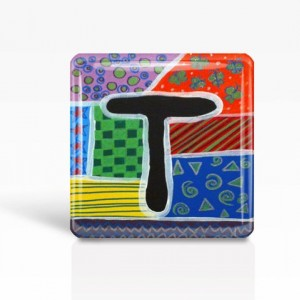 "ALPHABET Letter ""T"" - Glass MAGNET By Artist A.V.Apostle- 2""x 2"""