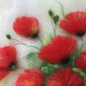 """Wool Painitng """"Bouquet of poppies"""""""