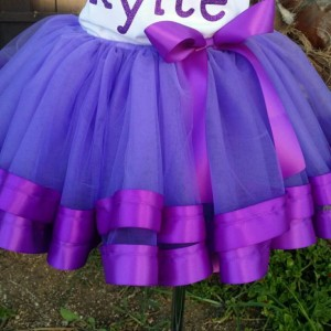 Personalized Sofia the first ribbon trimmed tutu set , Sofia the first tutu, ribbon trim tutu, custom tutu, birthday outfit, Sofia the first