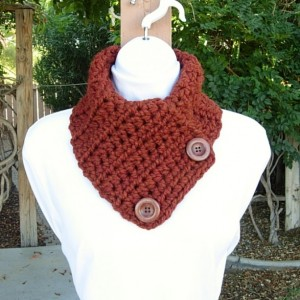 NECK WARMER SCARF Spice Dark Rust Burnt Orange Gold, Wool Blend, Wood Buttons, Soft Thick Winter Crochet Knit Cowl, Ships in 3 Business Days