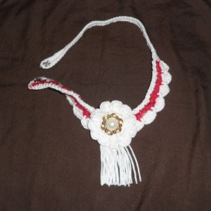 """Lovely Red and White Crocheted Necklace(""""Country Elegance"""") w/Large White crocheted flower N Faux Pearl/Faux Gold button w/White Fringe Trim"""