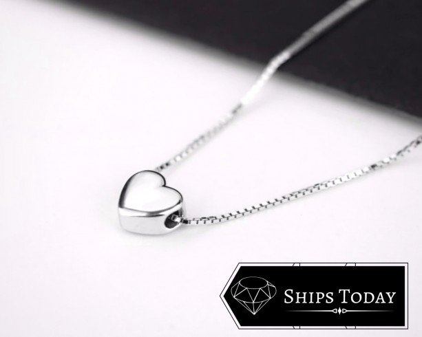 Sterling Silver Heart Necklace - Silver Necklace, Heart Necklace, Minimalist Necklace
