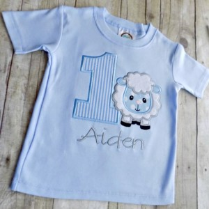 Boys Lamb Birthday T-Shirt, Boy Birthday Shirts, Toddlers Birthday Shirt,  Numbers 1-9 Available,Personalized, Embroidered, Appliqued, Fuzzy
