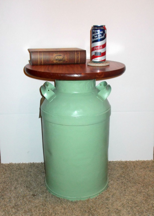 Vintage Milk Can End Table