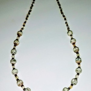 """Money Green and Bronze"" Paper Bead Necklace"