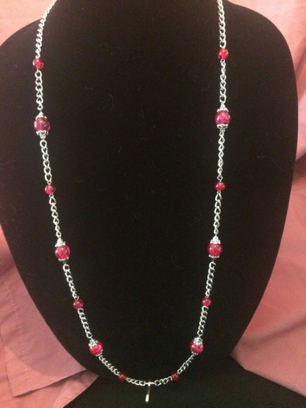 """20"""" Silver Chain Glass Beaded Lanyard ID Badge Necklace Multiple Colors Available"""
