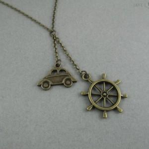 Captain Swan Inspired Lariat Necklace - Once Upon a Time - Storybrooke - Emma Swan - Captain Hook - Killian Jones - Ships Wheel - Car