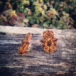 Wooden Hamsa Design Stud Earrings - FREE US SHIPPING