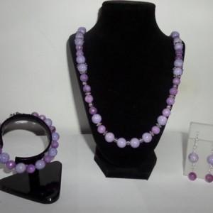 Light Purple Riverstone  and malaysian quartz Jewelry set