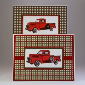 Set of 6 A2 Old Fashioned Truck blank cards