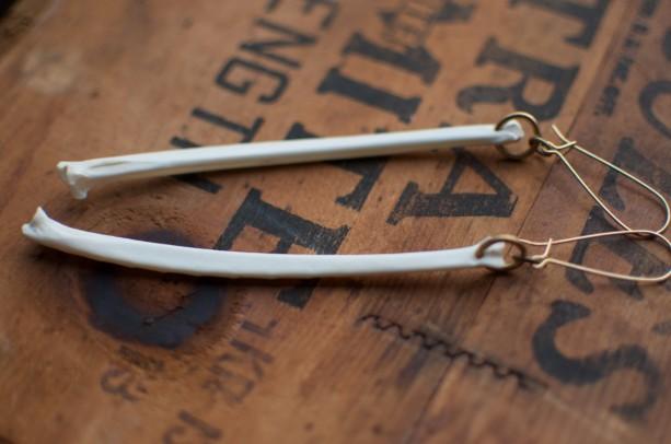 Oppossum Bone Earrings, Set A