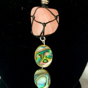 ROSE QUARTZ Healing Crystal with Dual Oval Abalone Shell Charms