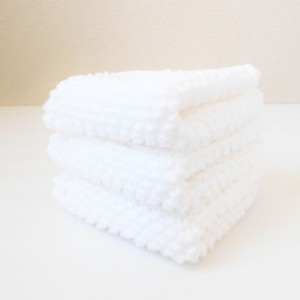 Knit White Cotton Dishcloths, Set of Three
