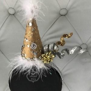 Happy Birthday Gold Rhinestone Hat/Fascinator Handmade Headband