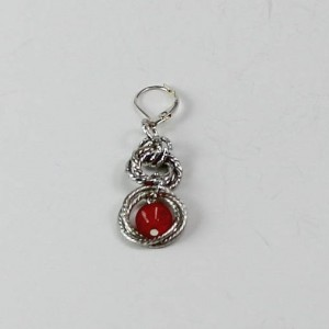 Red Bead Drop Chainmaille Earrings