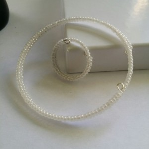 White Seed Bead Bracelet and Ring Set