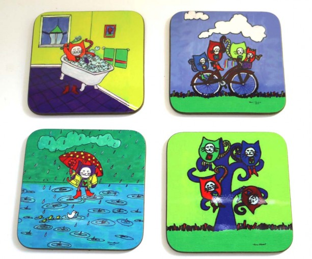 Cat, Wood Coasters, Wooden Coasters, Pet Loss Gift, Drink Coasters, House Warming Gift,