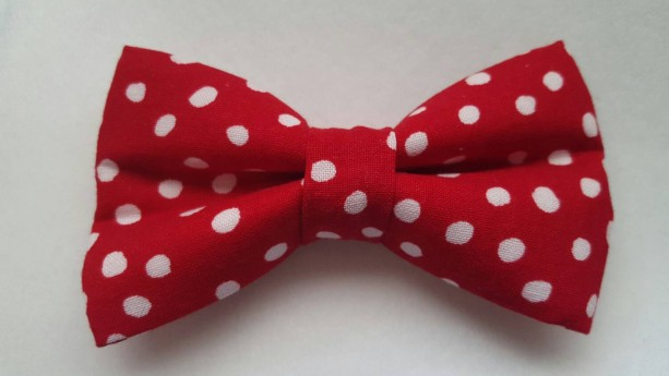 Red white polka dots pet bow tie