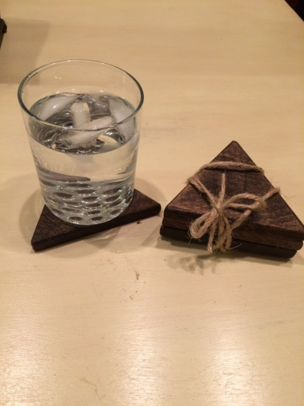 Dark Wooden Triangular Coasters, Handmade Coasters