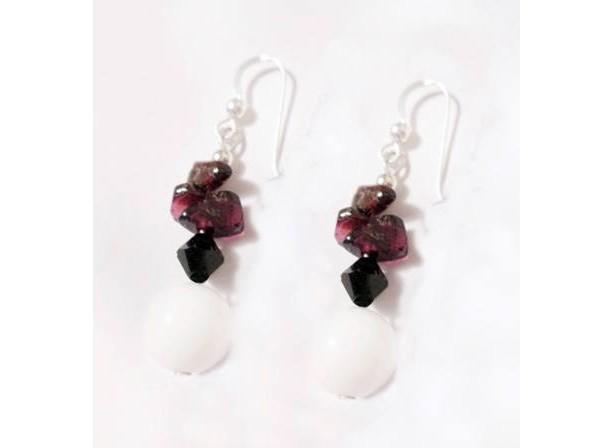 White Jade Garnet Crystal Earrings, Dangle Earrings, One of a kind Earrings, Handmade Jewelry Gift for Girlfriend, Jewelry on Sale, Hers