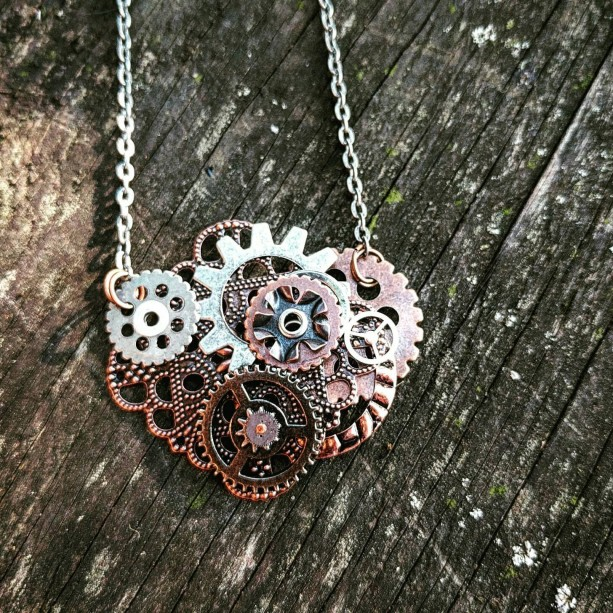 Copper Industrial Neo-Victorian Repurposed Handmade Ooak Filigree Lace Riveted Collage Necklace