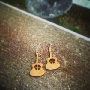 Wooden Peace Sign Guitar Dangle Earrings - FREE US SHIPPING