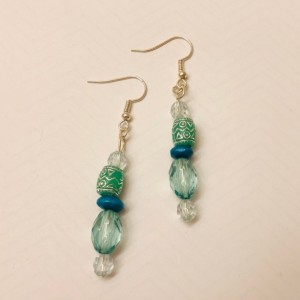 Silver, Green, and Turquoise Jewelry Set