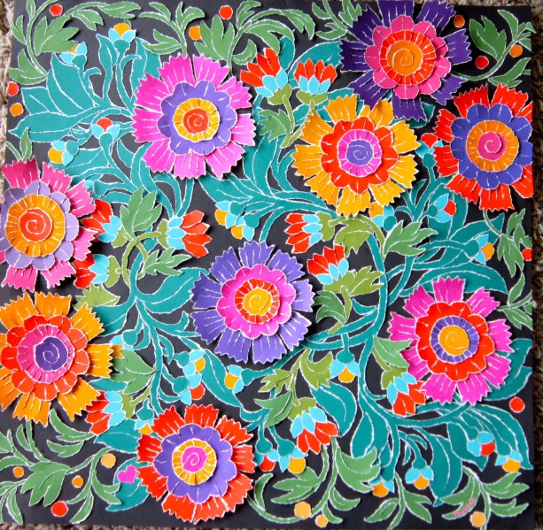 Torn Paper - Bright Folk Art Flowers, 15 X 15