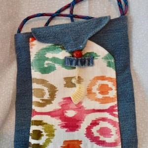 Tropical scene shoulder bag, side bag, recycled denim