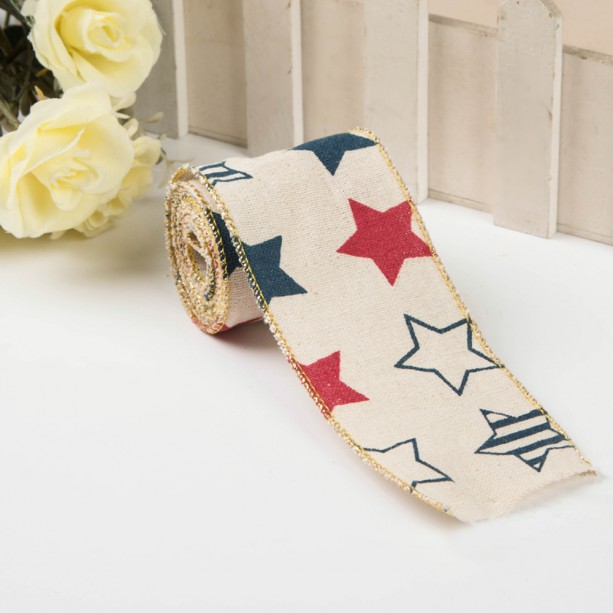 "Burlap Ribbon with America color Stars - 2"" X 6.5' For Making Bows, Wreaths, Home Decor, Primitive Decor"