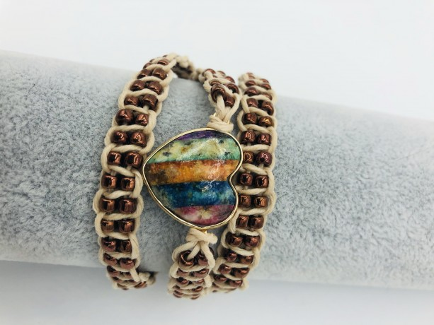 Macrame Jasper Heart Wrap Bracelet