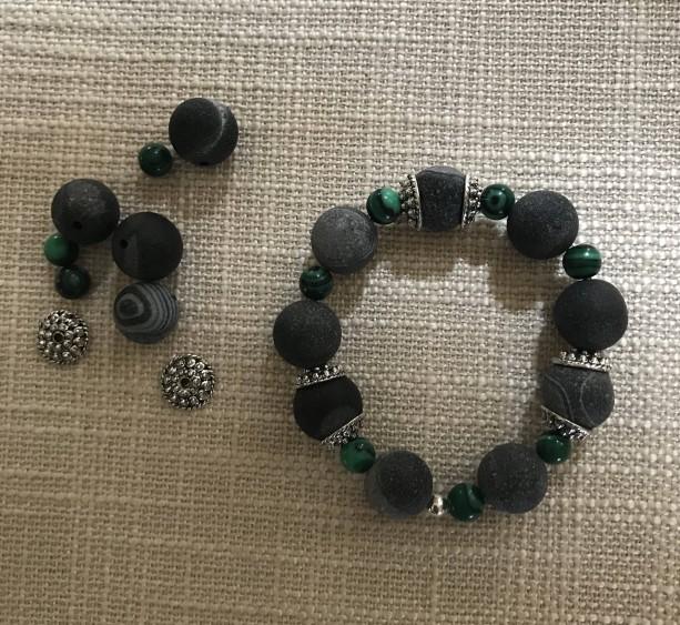 Semi Precious Agate Stone, Malachite, Silver Plated Bracelet