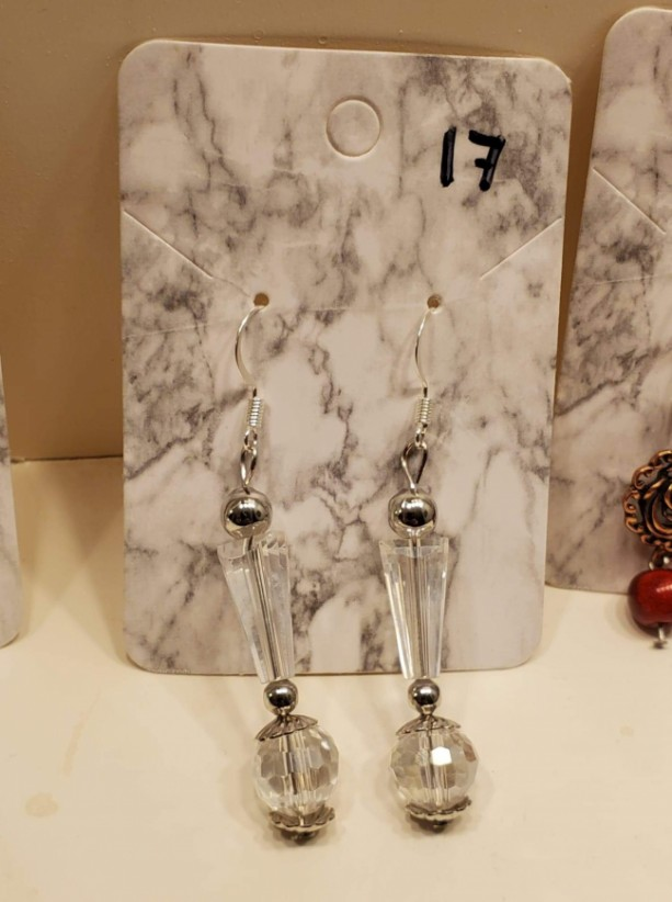 Multi shaped clear gems with silver bead earrings