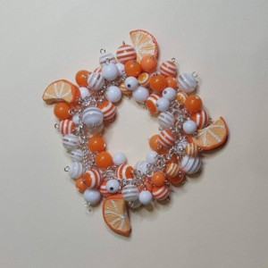 OOAK Polymer Clay Jewelry, Charm Bracelet, Gift for Mom, Gift for Wife, Gift for Sister, summer, miniature food, oranges
