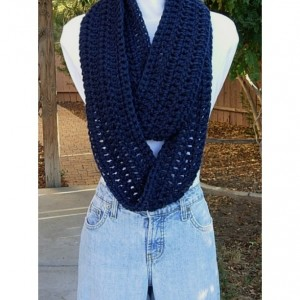 Extra Soft and Long Navy Blue INFINITY SCARF Loop Cowl, Dark Solid Blue Winter Crochet Knit Endless Circle, Women's or Men's, Ready to Ship in 3 Days