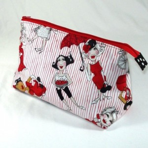 LORALIE DESIGNS Tossed Ladies in Red Cosmetic Bag, Gift, Bridesmaid Gift, Toiletry Bag, Pencil Case, Travel Bag