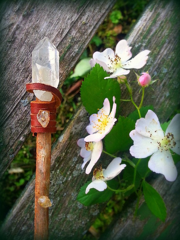 Quartz and Citrine Pine Wand-Sienna Leather Handle,-Wiccan, Magical Altar Tool