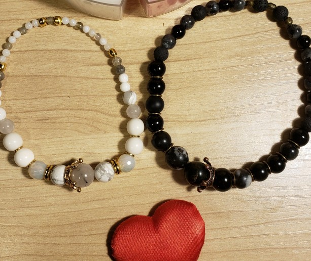 His and Hers Gemstone Stretch Bracelets