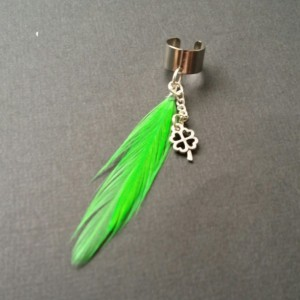 Bright Green Feather Ear Cuff w/ 4 Leaf Clover / Shamrock Earring