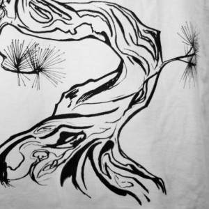 White Japanese Pine Tree Screen Printed T-Shirt Dress, Sumi-e, Gifts for Her, Nature, Botanical, Minimalism, Tunic, Made in USA