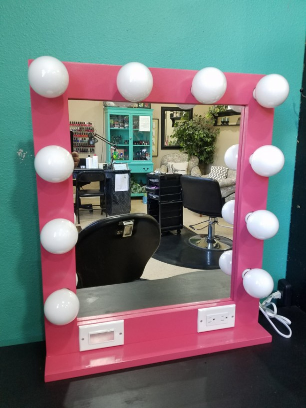 PINK 24 x 28 Lighted Hollywood style Glamour vanity mirror