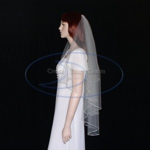 "2 Tier Cascade Veil Fingertip, knee length Crystal Veil- Rhinestone Chain Veil 36""/42""  Length"